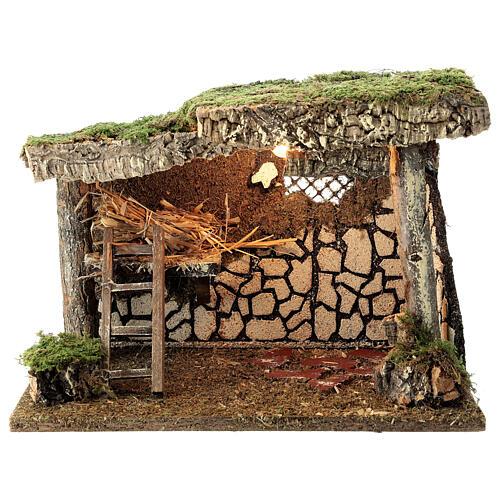 Cabane Nativité crèche fenil échelle 25x35x20 cm crèche 12-14 cm 1
