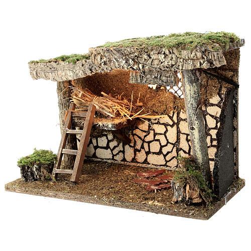 Cabane Nativité crèche fenil échelle 25x35x20 cm crèche 12-14 cm 2