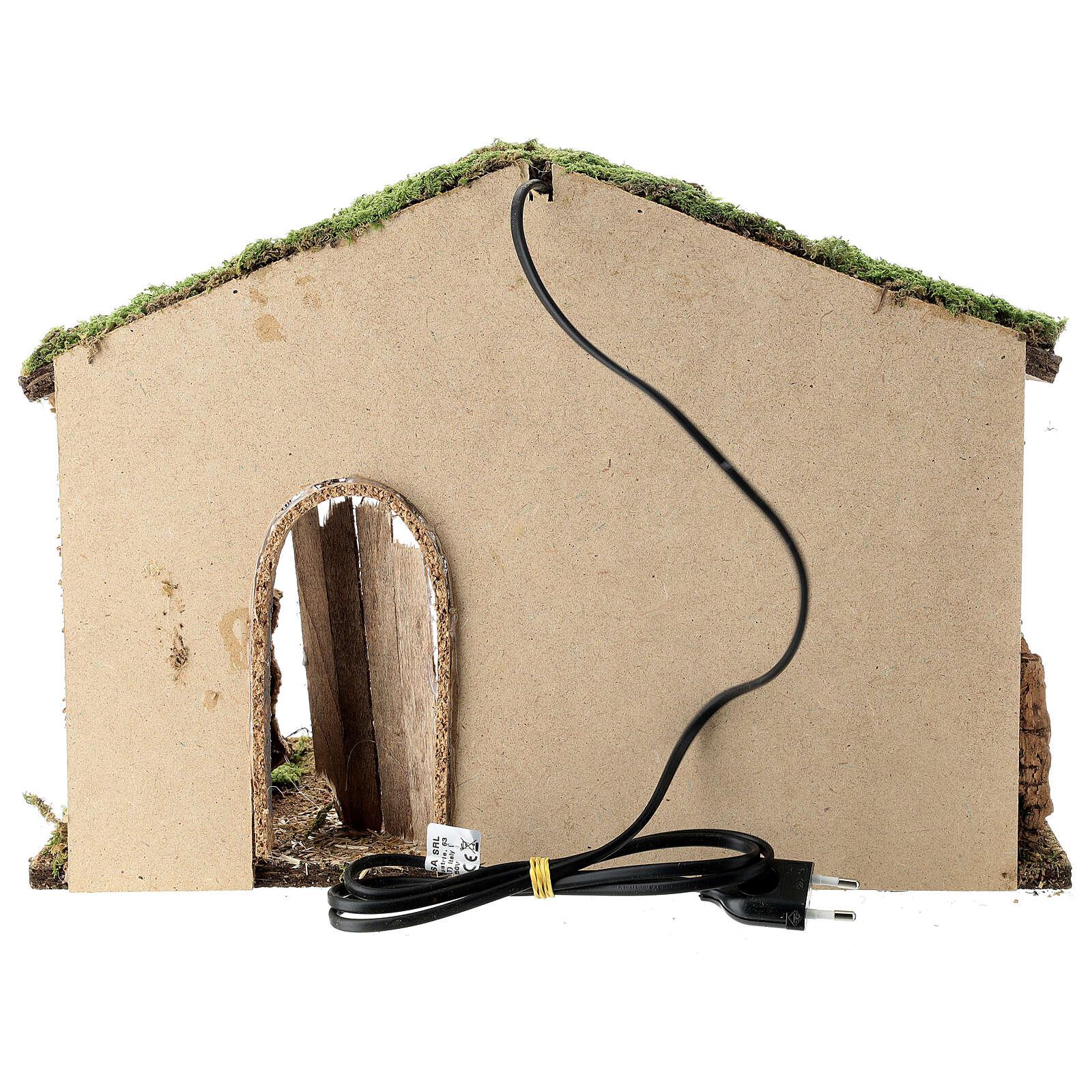 Cabane crèche rustique porte entrouverte fenil 30x40x20 cm santons 12-14 cm 4