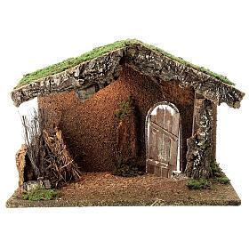 Cabane crèche rustique porte entrouverte fenil 30x40x20 cm santons 12-14 cm s1