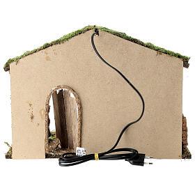 Cabane crèche rustique porte entrouverte fenil 30x40x20 cm santons 12-14 cm s4