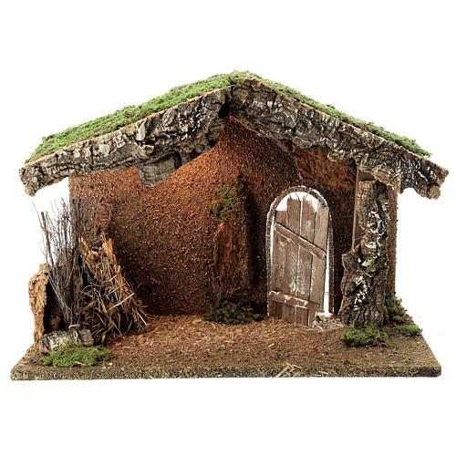 Cabane crèche rustique porte entrouverte fenil 30x40x20 cm santons 12-14 cm 1