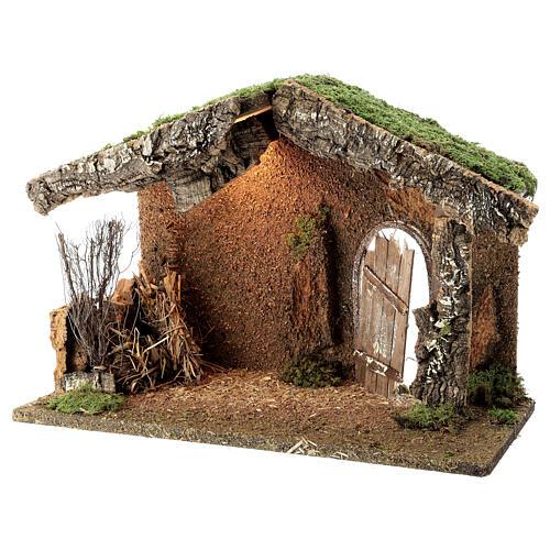 Cabane crèche rustique porte entrouverte fenil 30x40x20 cm santons 12-14 cm 2