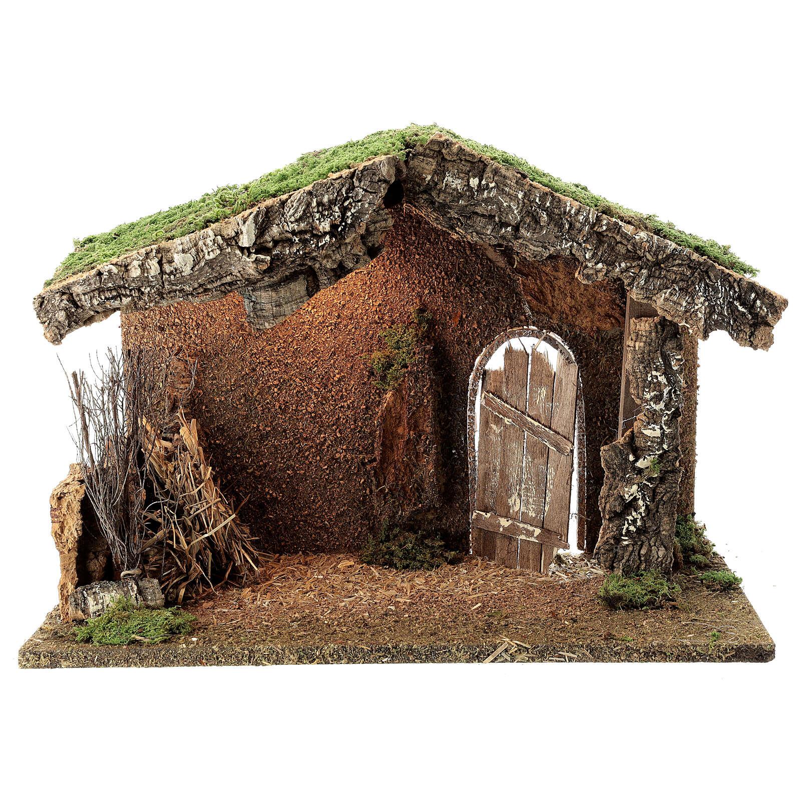 Capanna presepe rustica porta socchiusa fieno 30x40x20 statue 12-14 cm 4