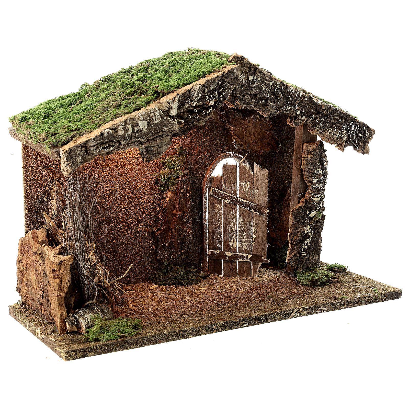 Wood nativity stable rustic unhinged door hay 30x40x20 cm figures 12-14 cm 4