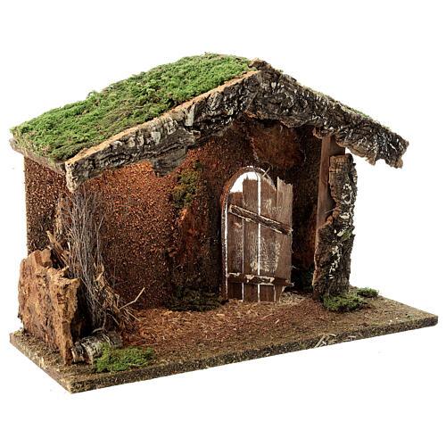 Wood nativity stable rustic unhinged door hay 30x40x20 cm figures 12-14 cm 3