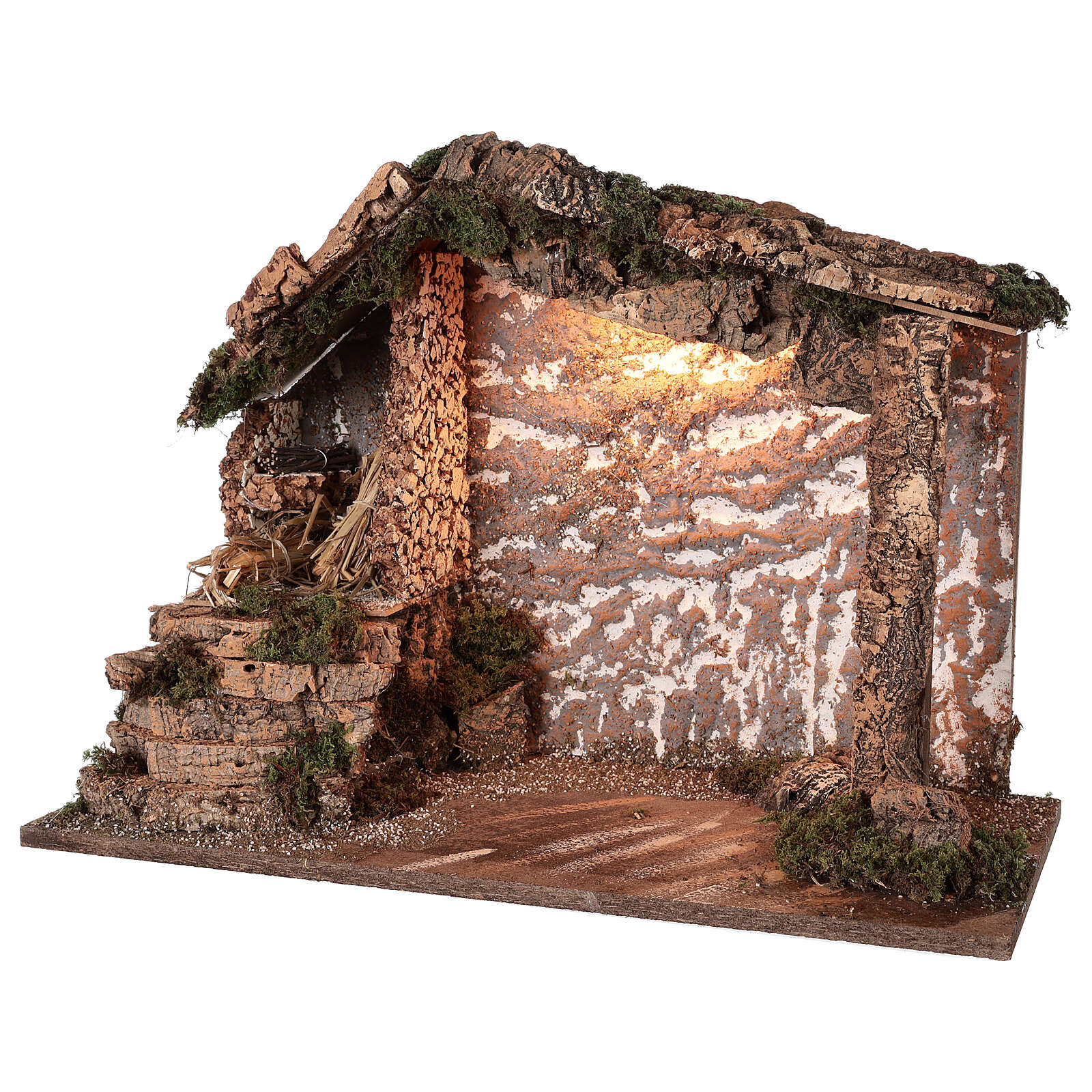 Rustic stable wood cork Nativity 12-16 cm, 40x50x25 cm 4