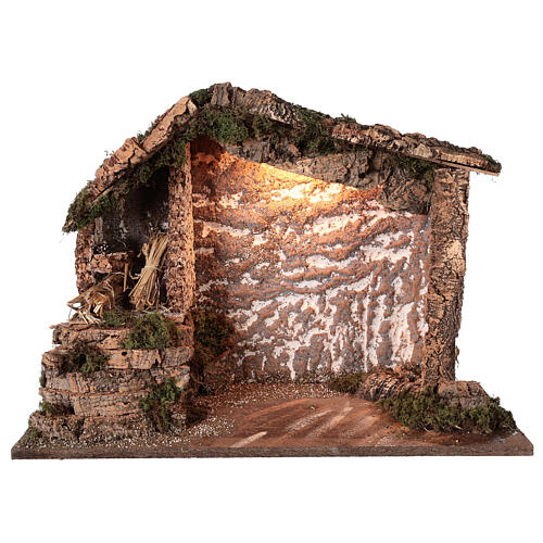 Rustic stable wood cork Nativity 12-16 cm, 40x50x25 cm 1