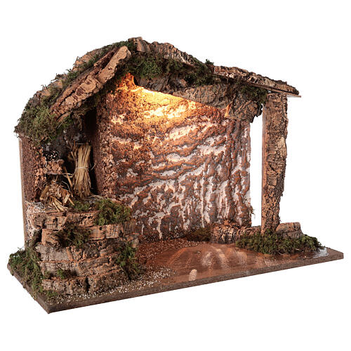 Rustic stable wood cork Nativity 12-16 cm, 40x50x25 cm 3