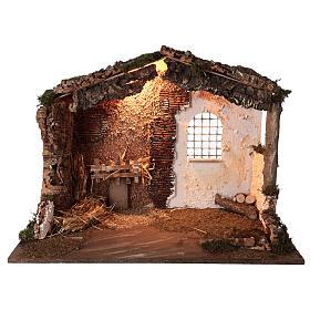 Capanna illuminata Natività presepe 8-10 cm tetto muschio 40x60x35 s1