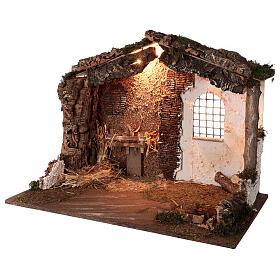 Capanna illuminata Natività presepe 8-10 cm tetto muschio 40x60x35 s2