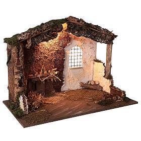 Capanna illuminata Natività presepe 8-10 cm tetto muschio 40x60x35 s3