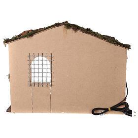 Capanna illuminata Natività presepe 8-10 cm tetto muschio 40x60x35 s4