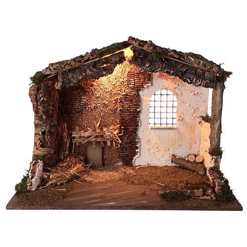 Capanna illuminata Natività presepe 8-10 cm tetto muschio 40x60x35 1