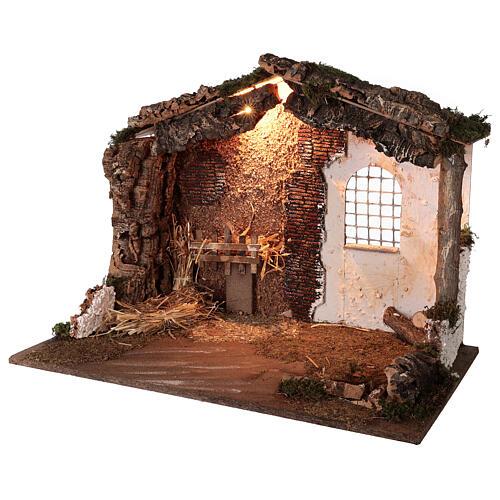 Capanna illuminata Natività presepe 8-10 cm tetto muschio 40x60x35 2