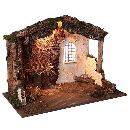 Capanna illuminata Natività presepe 8-10 cm tetto muschio 40x60x35 3