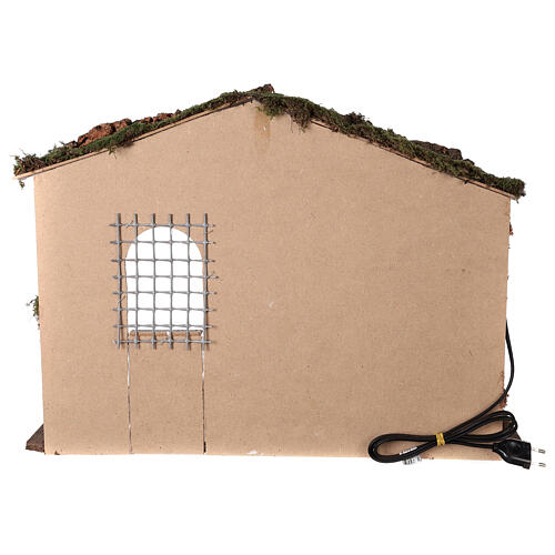 Capanna illuminata Natività presepe 8-10 cm tetto muschio 40x60x35 4