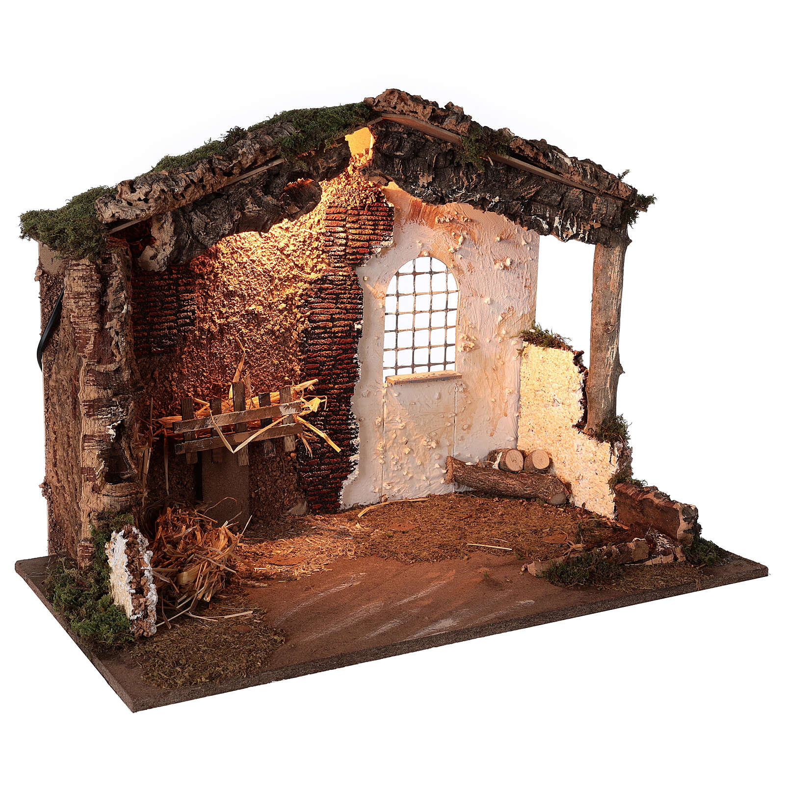 Lighted nativity stable 8-10 cm statues roof moss 40x60x35 cm 4