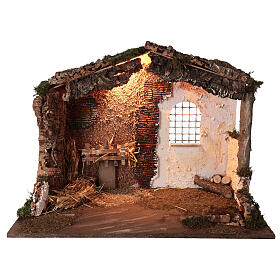 Lighted nativity stable 8-10 cm statues roof moss 40x60x35 cm s1