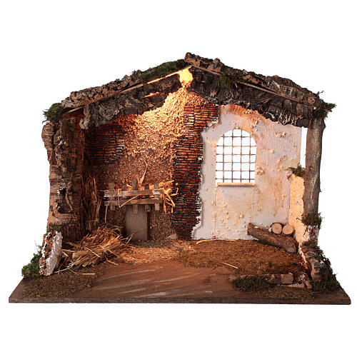 Lighted nativity stable 8-10 cm statues roof moss 40x60x35 cm 1