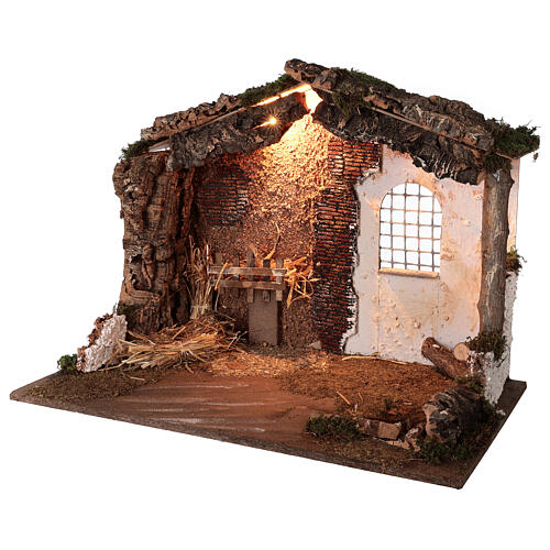 Lighted nativity stable 8-10 cm statues roof moss 40x60x35 cm 2