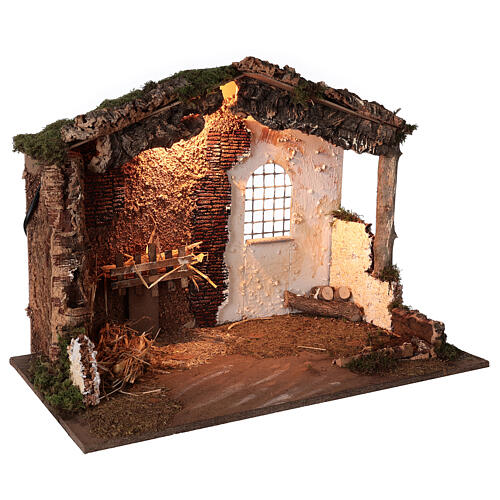Lighted nativity stable 8-10 cm statues roof moss 40x60x35 cm 3