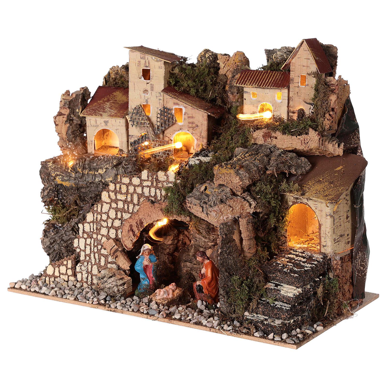 Borgo natività montagna mulino illuminato presepe 6 cm 30x15x20 4