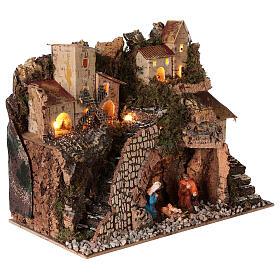 Borgo natività montagna mulino illuminato presepe 6 cm 30x15x20 s4