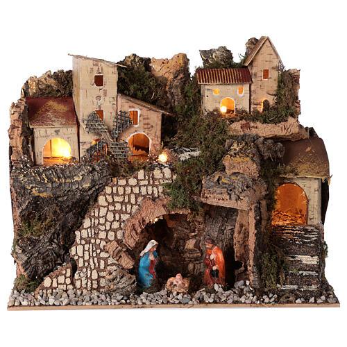 Borgo natività montagna mulino illuminato presepe 6 cm 30x15x20 1