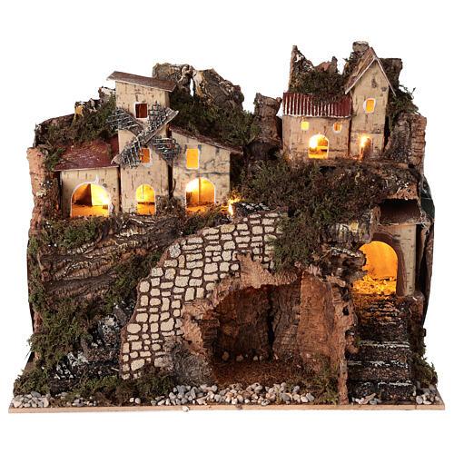 Borgo natività montagna mulino illuminato presepe 6 cm 30x15x20 5