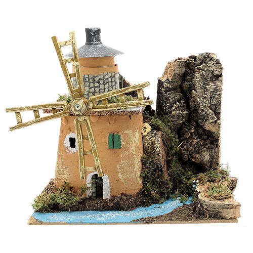 Animated windmill figurine 8-10 cm on a river 20x20x15 cm 1