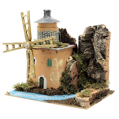 Animated windmill figurine 8-10 cm on a river 20x20x15 cm 2