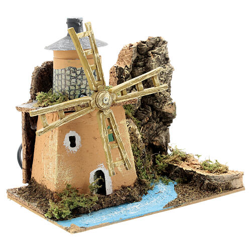 Animated windmill figurine 8-10 cm on a river 20x20x15 cm 3