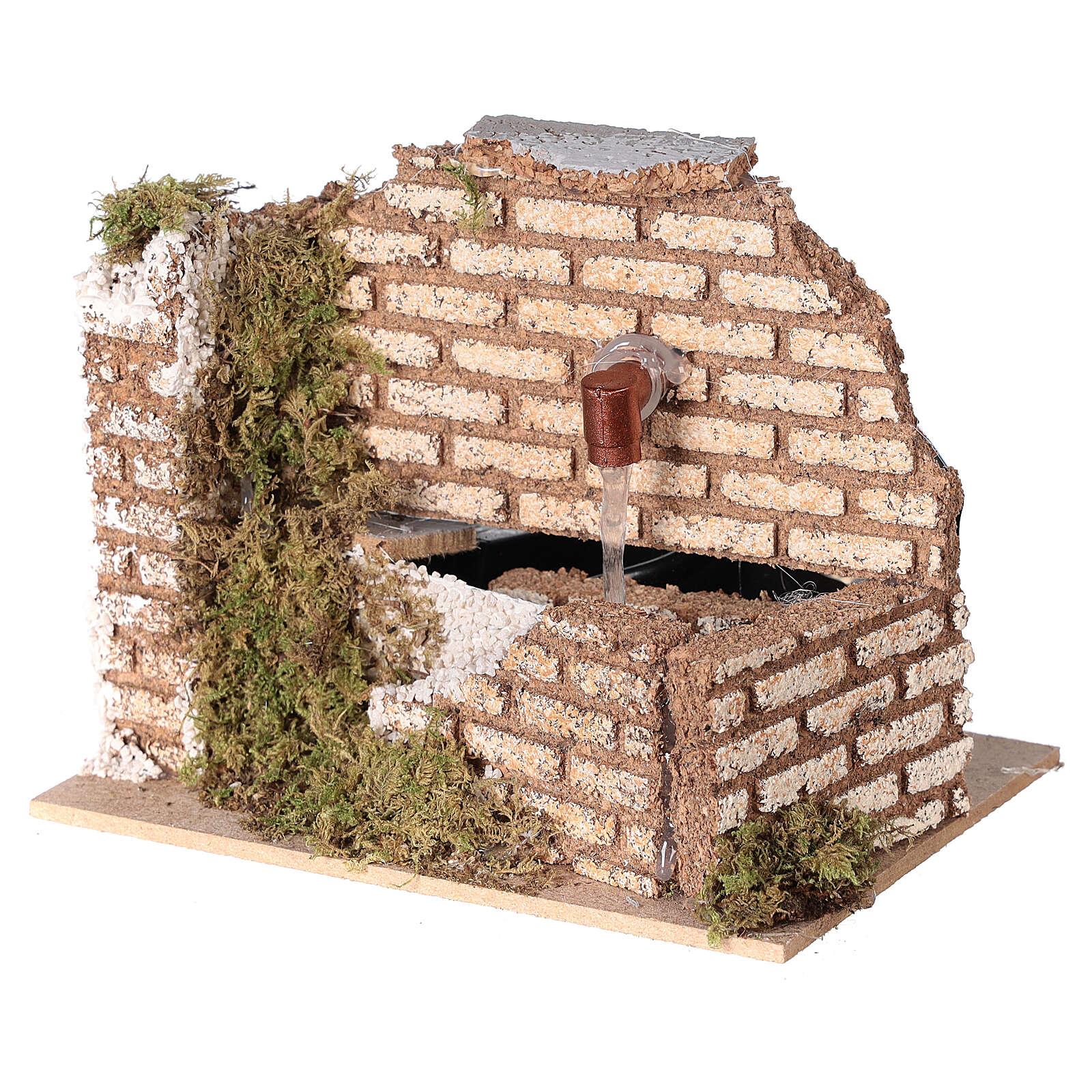 Miniature fountain cork wall nativity 8-10 cm 10x15x10 cm 4