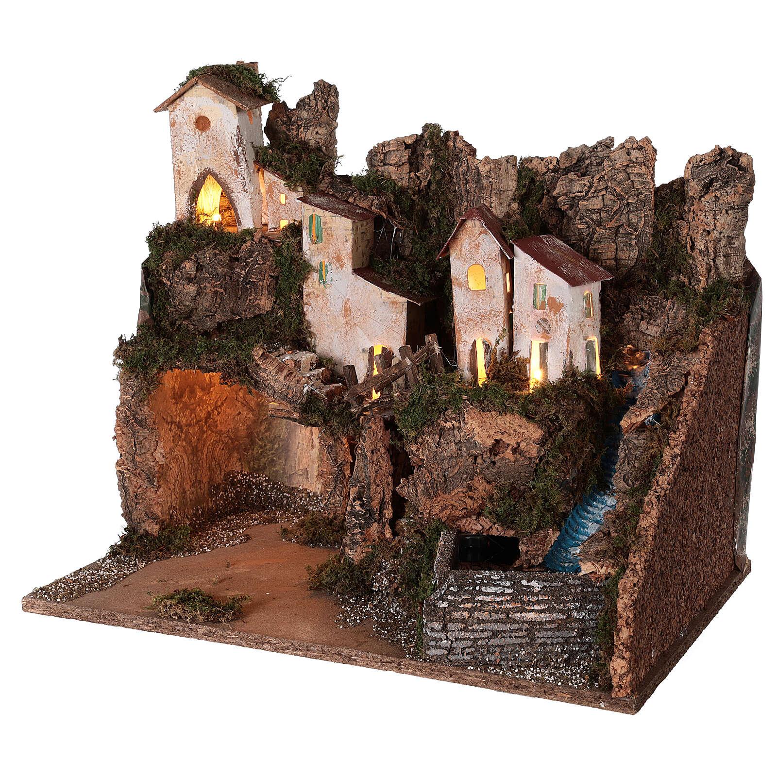 Décor crèche village de montagne grotte chute eau 40x45x30 cm pour santons 12 cm 4