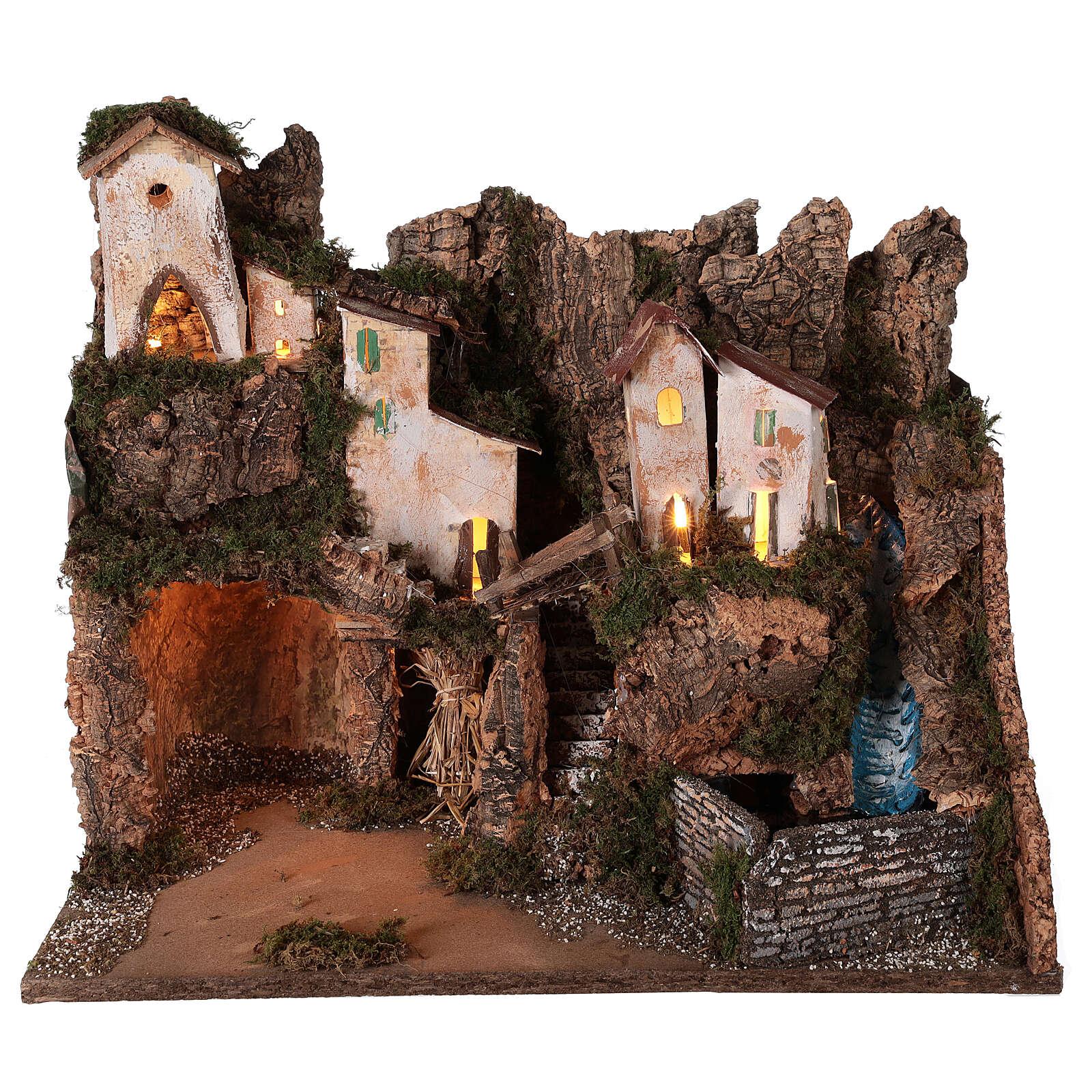 Ambientazione presepe borgo montano grotta cascata 40x45x30 per statue 12 cm 4