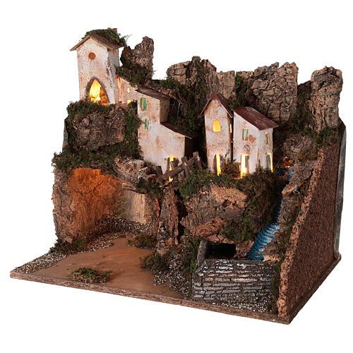 Ambientazione presepe borgo montano grotta cascata 40x45x30 per statue 12 cm 2