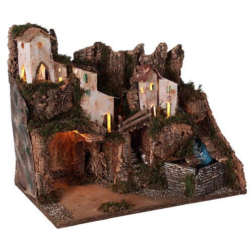 Ambientazione presepe borgo montano grotta cascata 40x45x30 per statue 12 cm 3