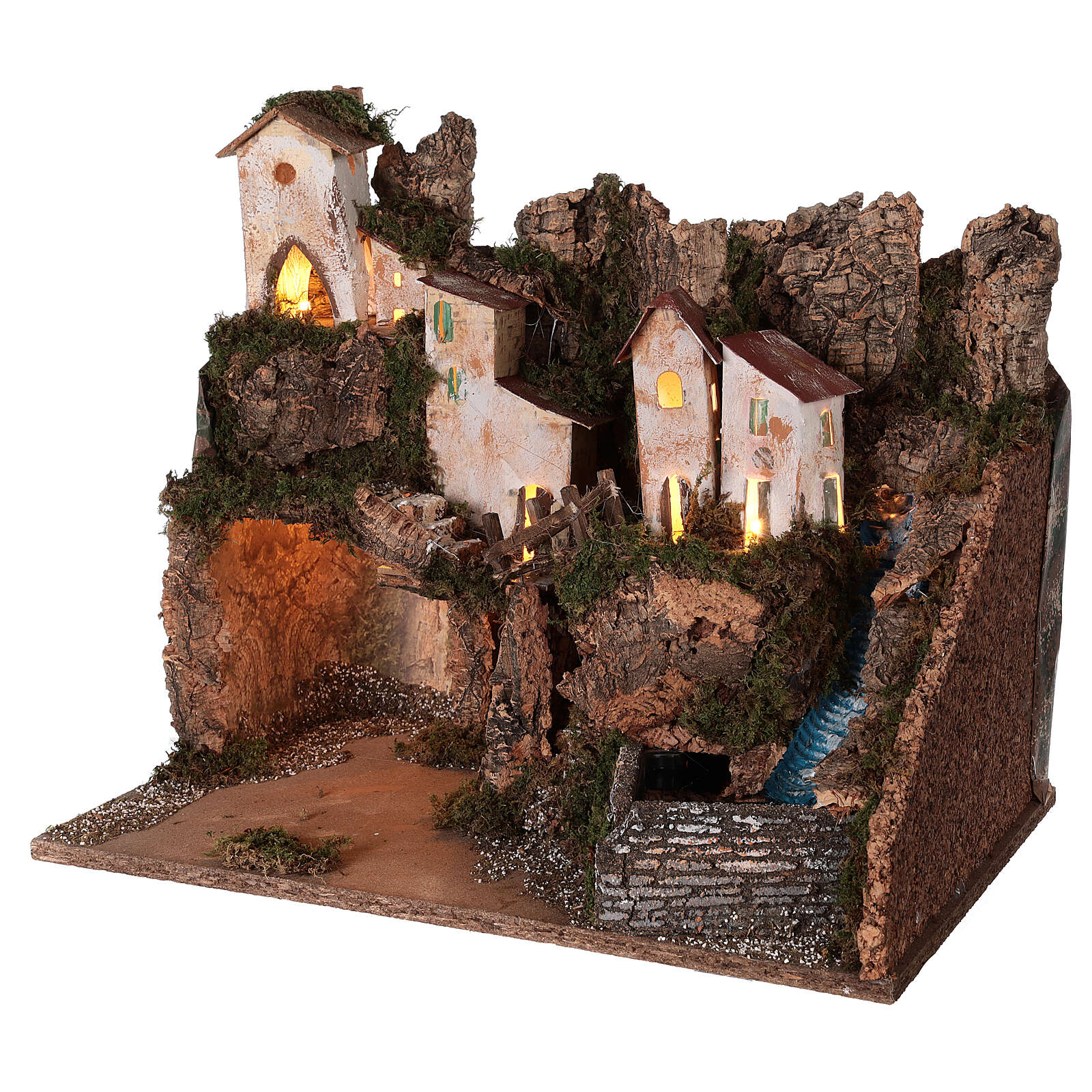 Nativity village mountain grotto waterfall 40x45x30 cm for 12 cm statues 4