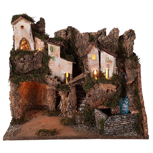 Nativity village mountain grotto waterfall 40x45x30 cm for 12 cm statues 1