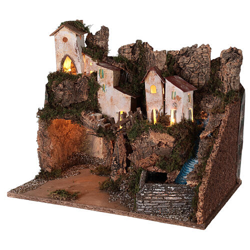 Nativity village mountain grotto waterfall 40x45x30 cm for 12 cm statues 2