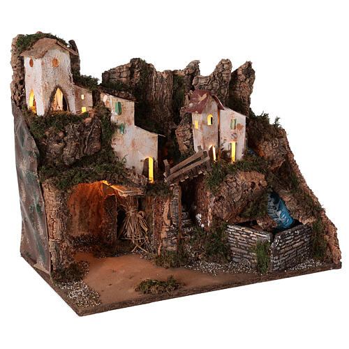 Nativity village mountain grotto waterfall 40x45x30 cm for 12 cm statues 3