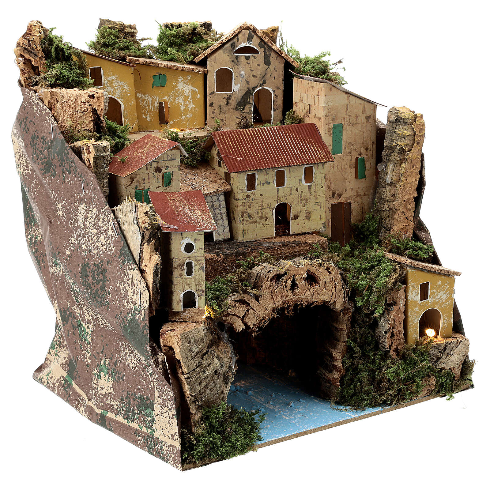 Rustic town lighted river underneath nativity 25x25x20 cm 4