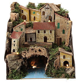 Rustic town lighted river underneath nativity 25x25x20 cm s1