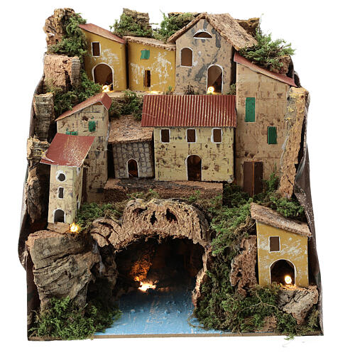 Rustic town lighted river underneath nativity 25x25x20 cm 1