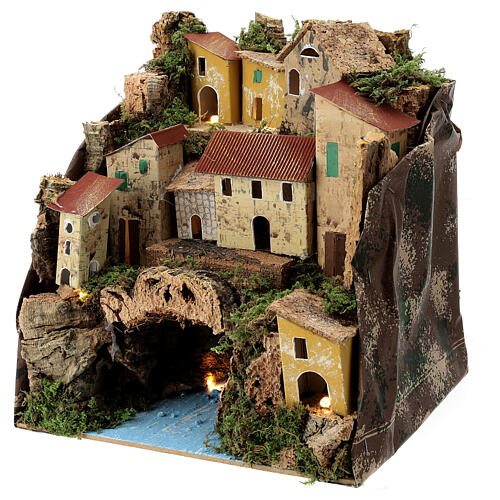 Rustic town lighted river underneath nativity 25x25x20 cm 2