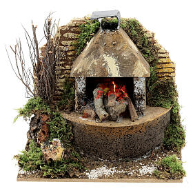 Wood fire with FLAME EFFECT bulb 12x15x10 cm nativity 12 cm s1