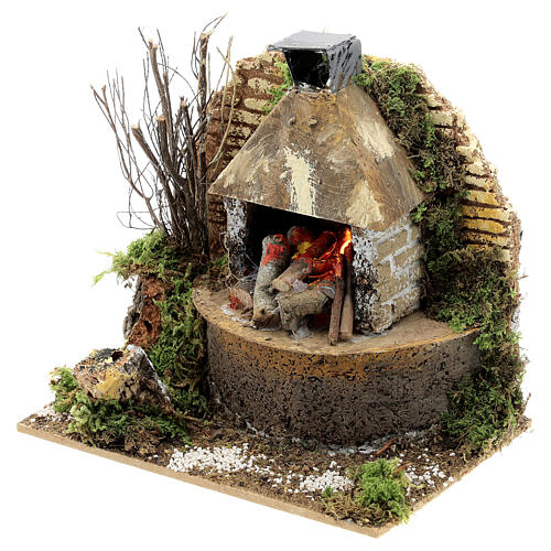 Wood fire with FLAME EFFECT bulb 12x15x10 cm nativity 12 cm 2