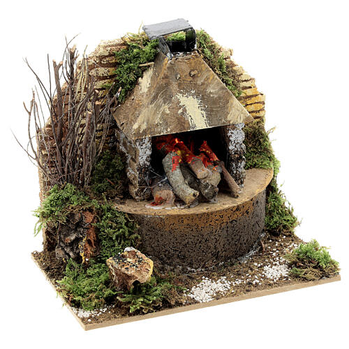 Wood fire with FLAME EFFECT bulb 12x15x10 cm nativity 12 cm 3