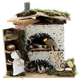 Brick oven figurine house FLICKERING FIRE LIGHT 20x20x15 cm nativity 12 cm s1